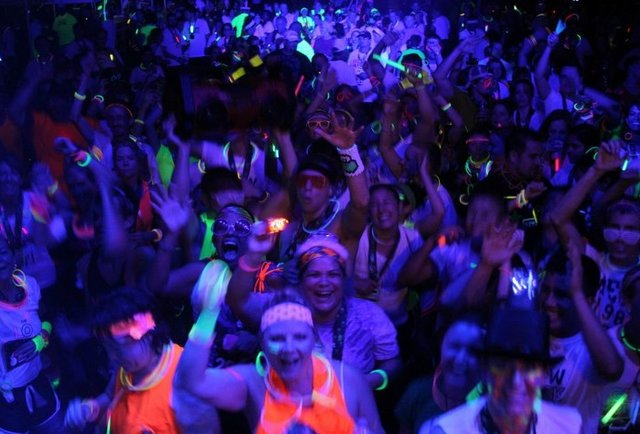 Affix glowsticks, run, drink