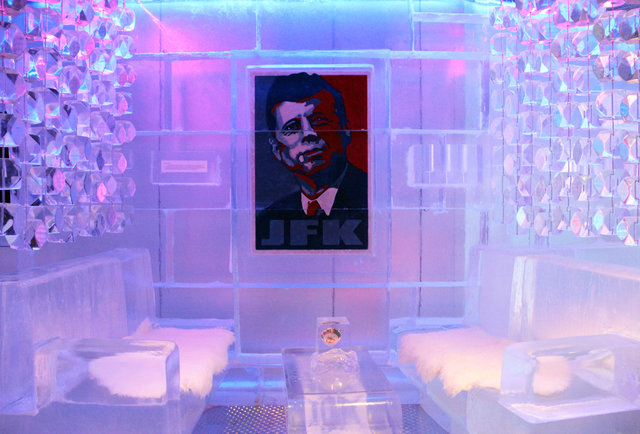Painting of JFK at Frost Ice Bar