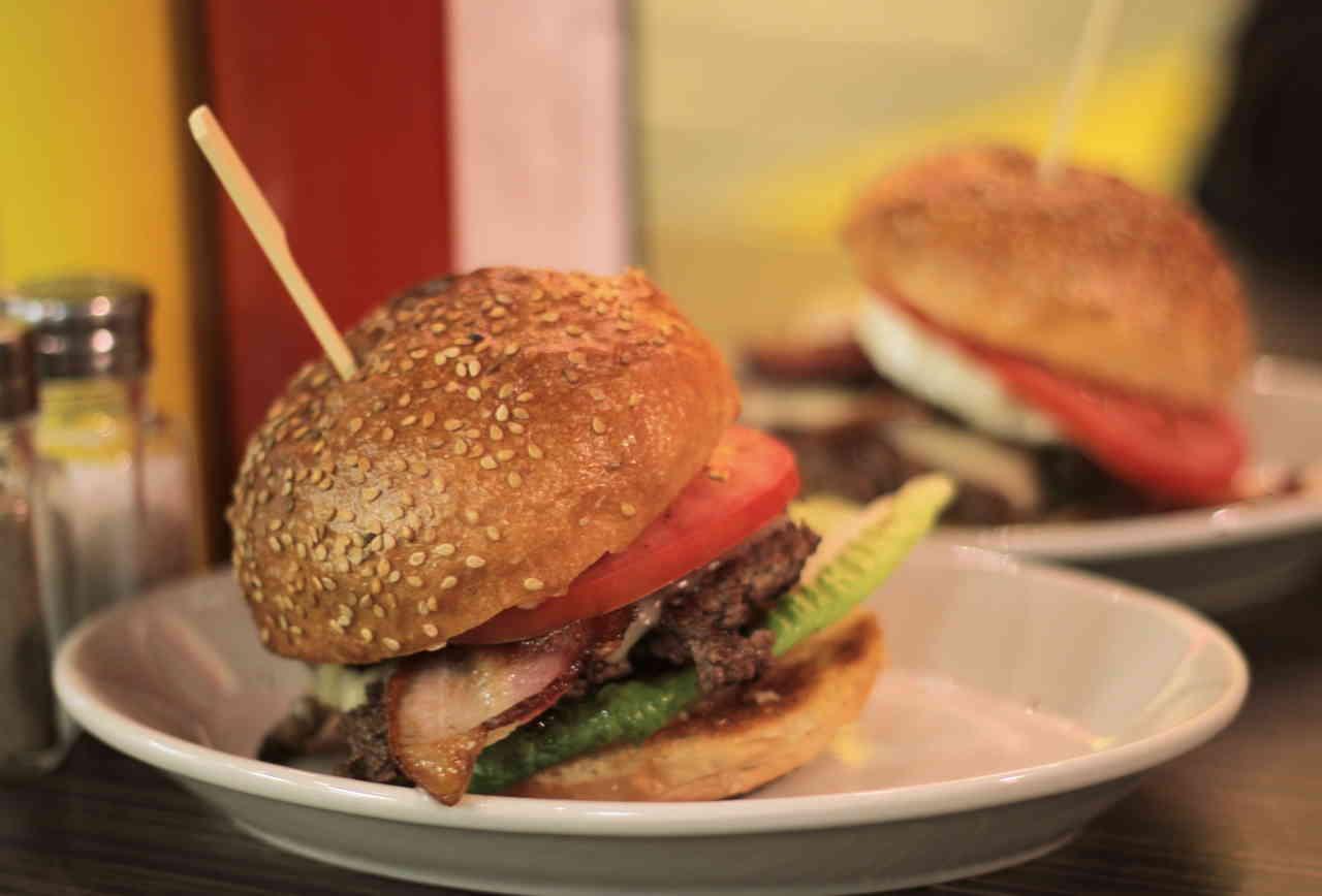 Large burger with skewer