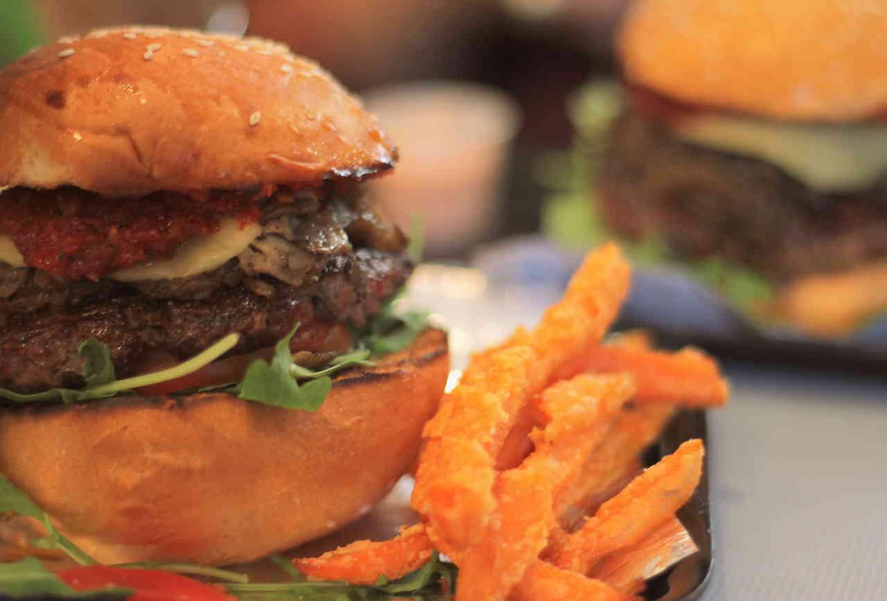 Closeup of a burger and fries