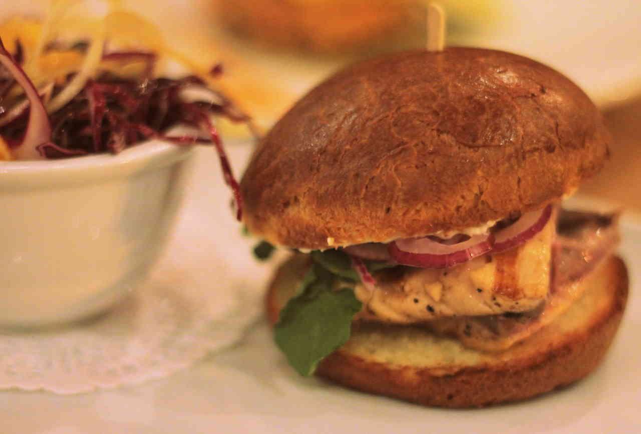 A burger and slaw