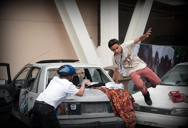 dude clearing a car