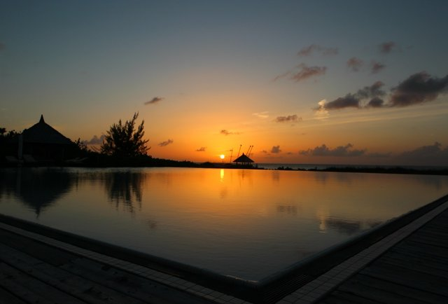 Infinity pool sunset at Parrot Cay by COMO
