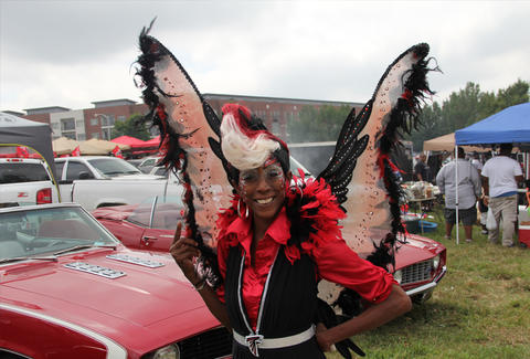 woman dressed up for Atlanta Falcons party