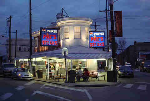 Pat's King of Steaks home of the original Philly cheese steak in Philadelphia, Pennsylvania.