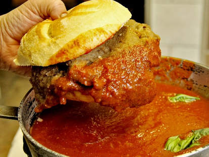 A giant veal sandwich on a kaiser