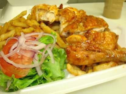 Chicken and veggies at Romanos