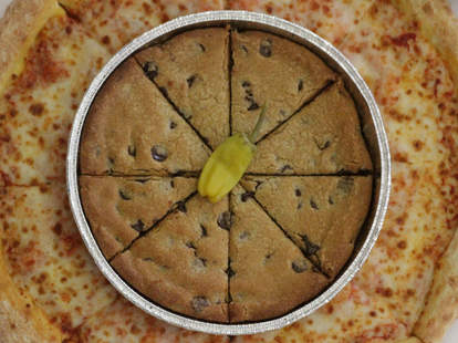 Papa John's mega chocolate chip cookie and large pizza