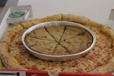 Papa John's mega chocolate chip cookie on pizza