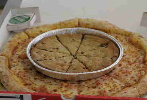 Papa John's mega chocolate chip cookie on pizza