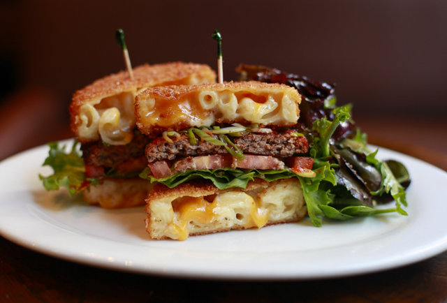 The Mac Attack Burger uses fried mac & cheese as burger buns, is very healthy