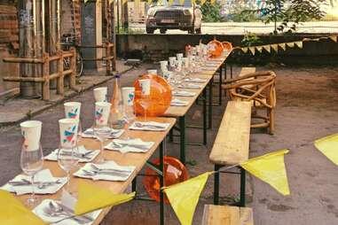 Long communal table at Speisenklub Berlin