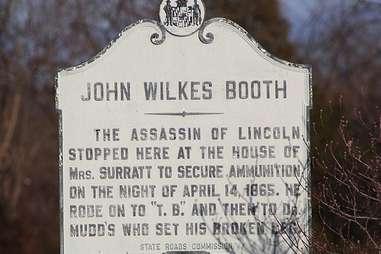 John Wilkes Booth marker