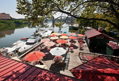 Calhoun's outdoor patio by the water