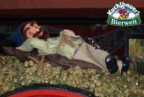 Beer Gnome sleeping one off at Kuchlbauer's Bierwelt the beer theme park in Bavaria.