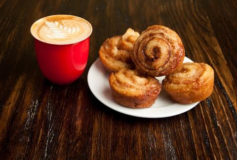 Cinnamon rolls and coffee at Cafe Sardine Montreal