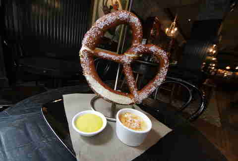 The giant soft pretzel at Flatiron Hall
