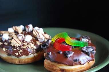 Legendary Donuts oreo and gummy worm doughnut