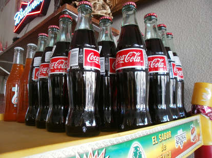 Mexican coke on a shelf