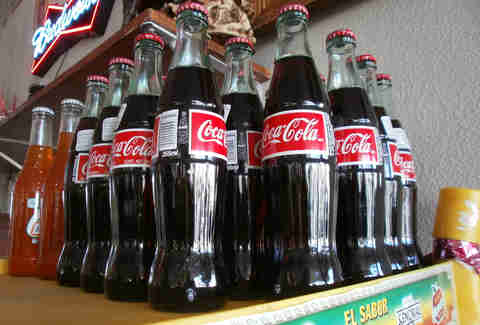 Mexican coke on a shelf