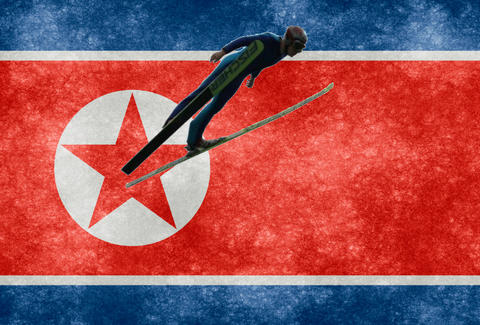 North Korean flag with skier