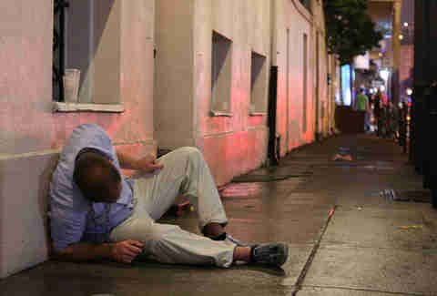 Drunk man in New Orleans