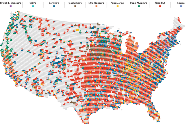 This map shows the closest pizza place to any point in America