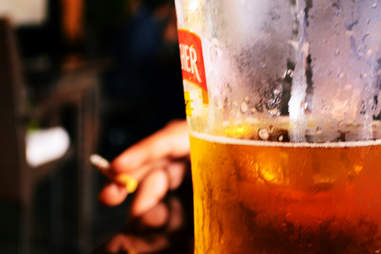 beer with cigarette
