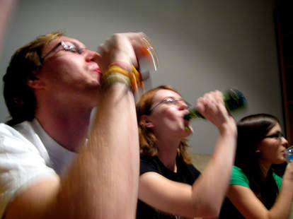 People playing drinking game