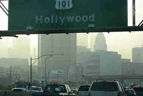 Downtown Los Angeles smog sign