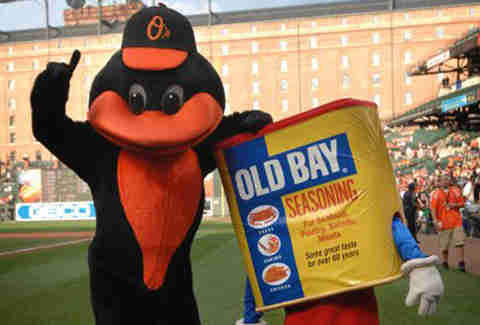 Old Bay mascot at Camden Yards with Oriole Bird