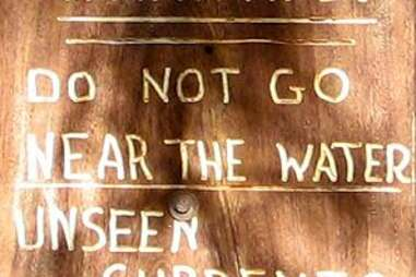 Sign at waterfall in Kauai