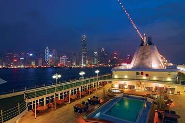 silver whisper deck at night
