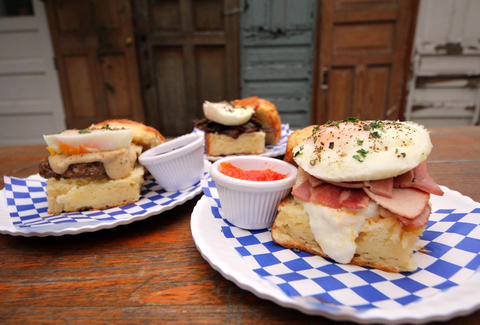 Biscuit sandwiches at bang bang pie shop in logan square