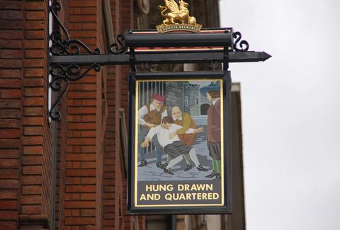 The Hung Drawn and Quartered pub sign
