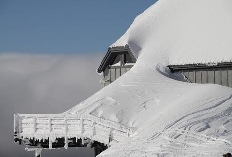 Timberline lodge covered in snow