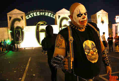 Menacing clown at the gates of hell
