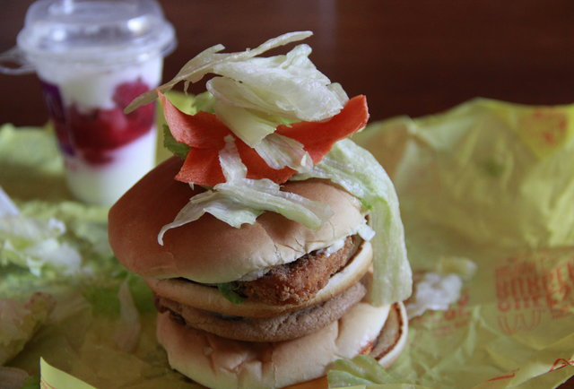 Here\'s a sandwich made of EVERYTHING on the McDonald\'s Dollar Menu