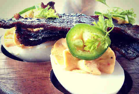 candied bacon deviled duck eggs tap atlanta
