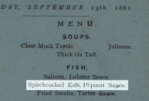 Old menu spitchcocked eels in piquant sauce