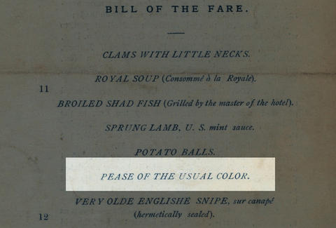 Old menu pease of the usual color