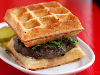 Waffle Burger At On The Bun in Lakeview
