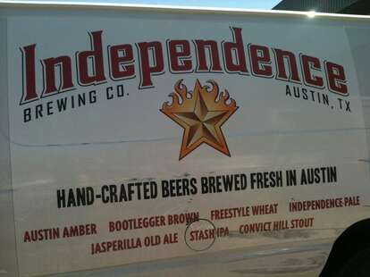 Independence sign on the side of a van