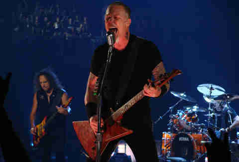 Metallica performing onstage