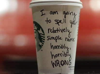 Starbucks misspelled coffee cup