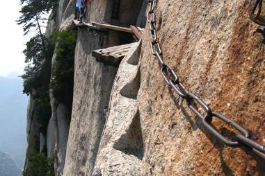 walkway on the side of a mountain