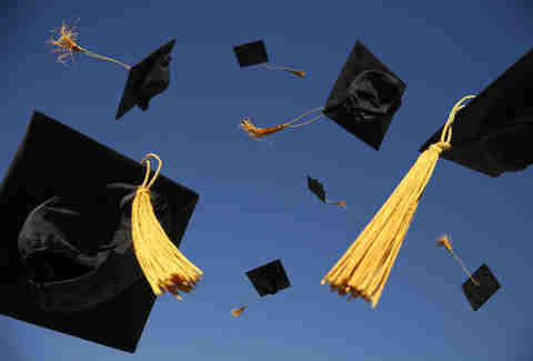 Graduation caps flying