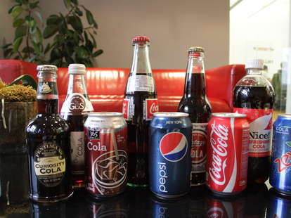 Pepsi, Coke, Zevia, Curiosity Cola, Nice, Mexican Coke, Trader Joe's, Gus, and 365 Everyday Value colas