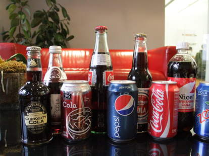 Pepsi, Coke, Zevia, Curiosity Cola, Nice, Mexican Coke, Trader Joe's, Gus, and 365 Everyday Value colas