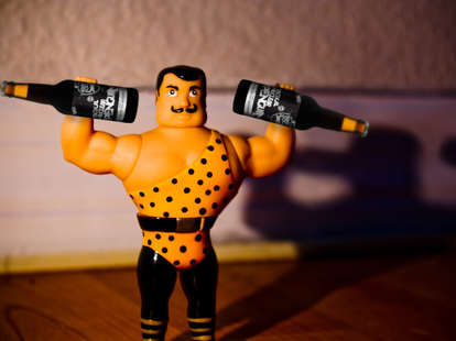 strong man with beers